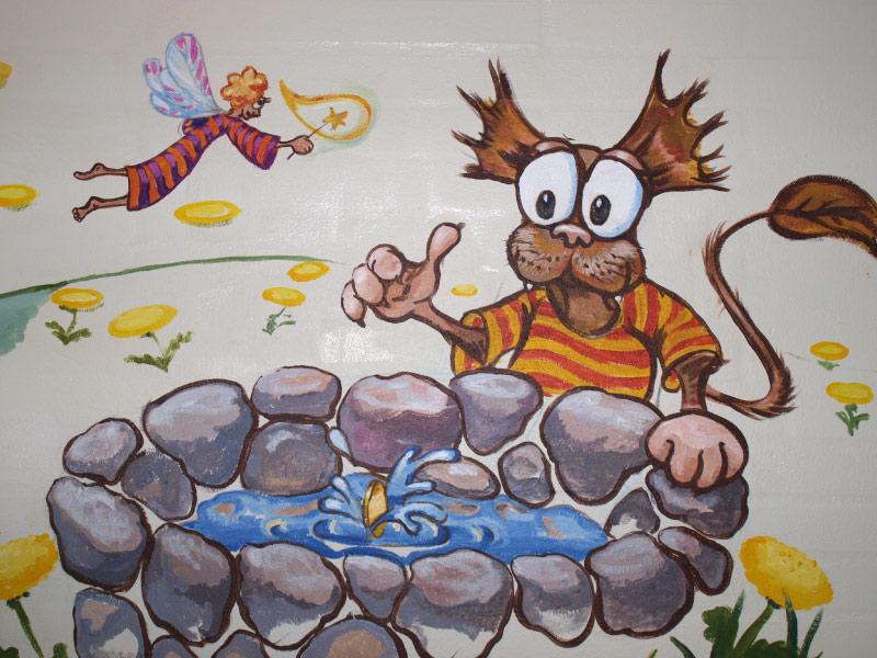 """Ønskebrønden"""" detalje fra vægmaleri"""