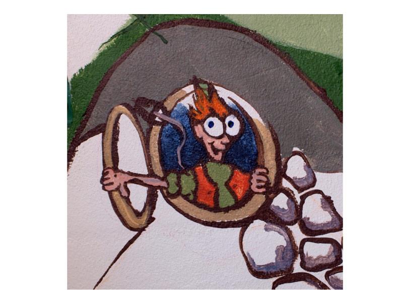 """Detalje fra vægmaleri """"Beboere"""""""