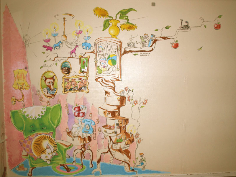 """Et hjem"" vægmaleri ca 2x2m"